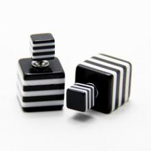 Double Dots Striped Black & White Squares