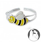 Zilveren Teenring Bumble Bee