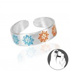 Zilveren Teenring Enamel Sun Blue Orange