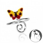 Zilveren Teenring Butterfly and Curl Yellow