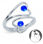 Zilveren Teenring Double Open Hearts