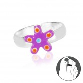 Zilveren Teenring Estrella Purple