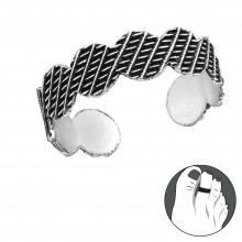 Zilveren teenring Grafic
