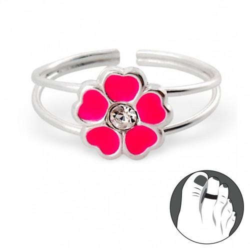 Zilveren Teenring Fleur Rose
