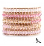 Lederen Wrap Armband Rose Quartz
