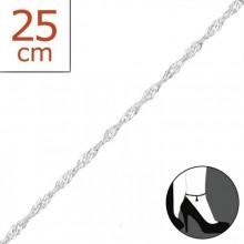 Zilveren Enkelbandje Twisted 25 cm.