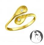 Zilveren Teenring Calela Gold