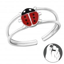 Zilveren Teenring Ladybug