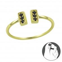 Zilveren Teenring Loretta Black Gold