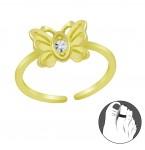 Zilveren Teenring Lovely Butterfly Gold