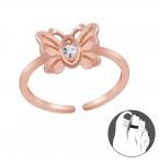 Zilveren Teenring Lovely Butterfly Rosé