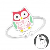 Zilveren Teenring Owl
