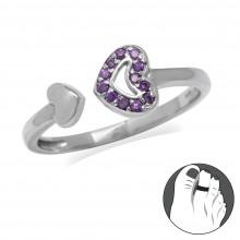 Zilveren Teenring Purple Heart