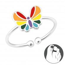 Zilveren Teenring Rainbow Butterfly