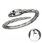 Zilveren Teenring Serpenta
