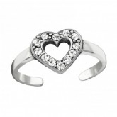 Zilveren Teenring Shiny Heart