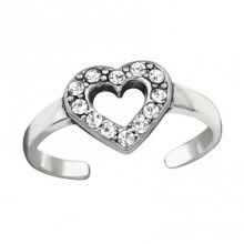 Zilveren Teenring Shiny Heart
