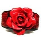 Lederen Armband Rose Rouge