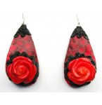 Snakeskin with Coral Roses Earrings