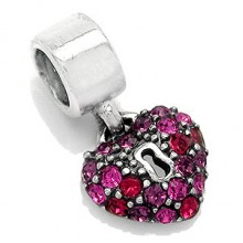 Zilveren Bedel Heart Key