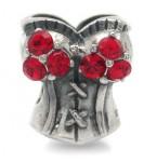 Zilveren Bedel Corset met rode kristallen