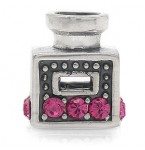 Zilveren Bedel Parfumfles met Roze Kristallen