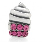 Zilveren Bedel IJsje met roze kristallen