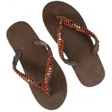 Rubberen Slippers Brown Beads & Rubber