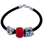 Zilveren en Rubberen Armband voor o.a. Pandora bedels