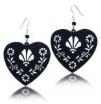 Zilveren Oorbellen Black Filigree Hearts