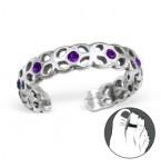 Zilveren Teenring Lianne Purple