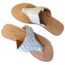 Lederen Slippers Venice Beach White