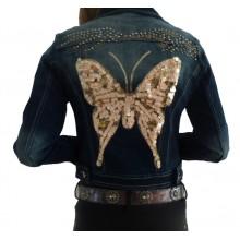 Spijkerjasje Powder Pink Butterfly