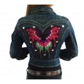 Spijkerjasje Pink Butterfly