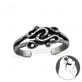 Zilveren Teenring Tangled Snakes