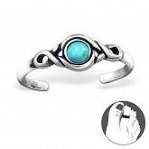 Zilveren Teenring Opal Azure