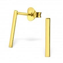 Zilveren Oorknopjes Gold Plated Bar