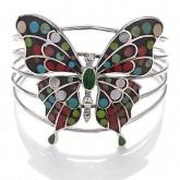 Silver Bangle Bracelet Butterfly Black with dots