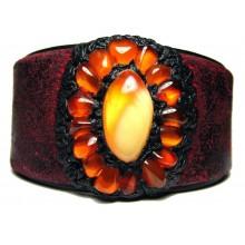 Lederen Armband Baltisch Amber