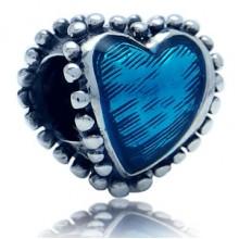 Zilveren Bedel Blauw Hart van emaille