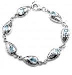NIEUW Zilveren Armband Blue Topaz