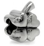 Zilveren Bedel Klavertje vier met hartjes