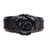 Lederen Armband Black Agate Rose