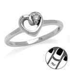 Zilveren Midi Ring Heart and CZ Stone