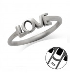 Zilveren Vingertop Ring Love