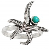 Zilveren Ring Starfish and Turquoise