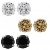 Zilveren Set Oorbellen Zwart, Goud en Wit