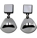 Silver Mirror Lips Earrings