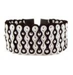 Lederen Soutache Cuff Armband Zwart/Wit/Zilver