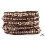 Lederen Wrap Armband Bronze
